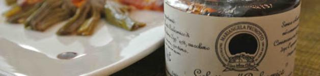 "Carciofi con guanciale croccante, cialde di parmigiano e gelatina ""balsamica"" Prunotto"