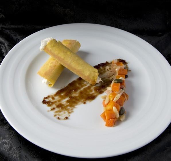 Cannoli di ceci, baccalà mantecato, caponata di zucca e gelatina di aceto balsamico prunotto