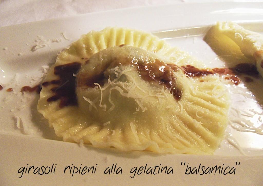Girasole e mezze lune alla gelatina di balsamico Prunotto