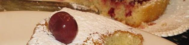 Almond cake and cherries