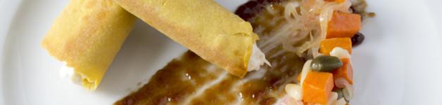 Chickpeas cannoli, cod fish, caponata pumpkin jelly and balsamic vinegar